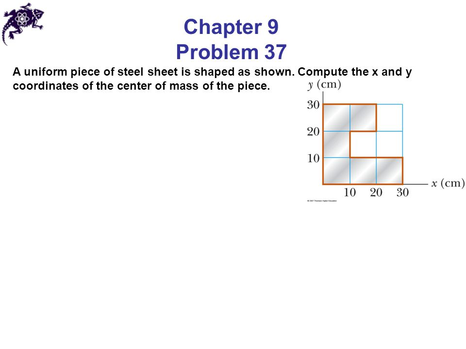 Chapter 9 Problem 37 A uniform piece of steel sheet is shaped as shown.