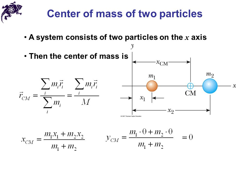 Center of mass of two particles A system consists of two particles on the x axis Then the center of mass is