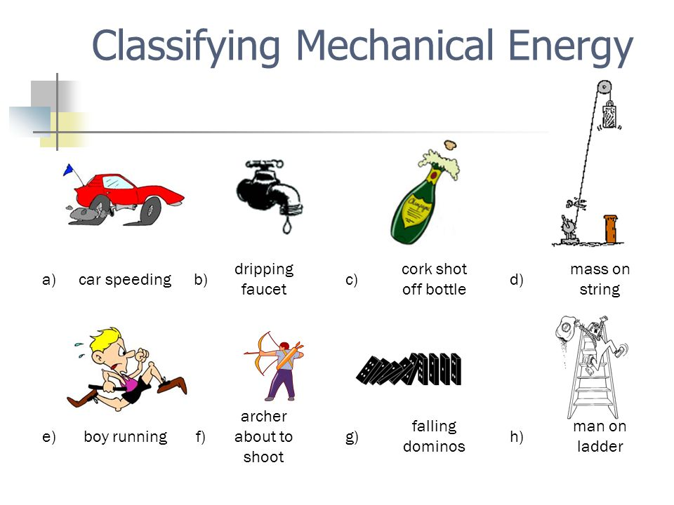 a)car speedingb) dripping faucet c) cork shot off bottle d) mass on string e)boy runningf) archer about to shoot g) falling dominos h) man on ladder Classifying Mechanical Energy
