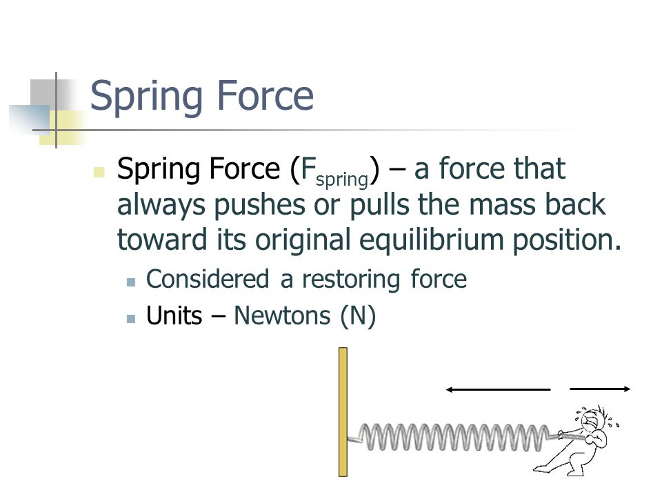 Spring Force Spring Force (F spring ) – a force that always pushes or pulls the mass back toward its original equilibrium position.