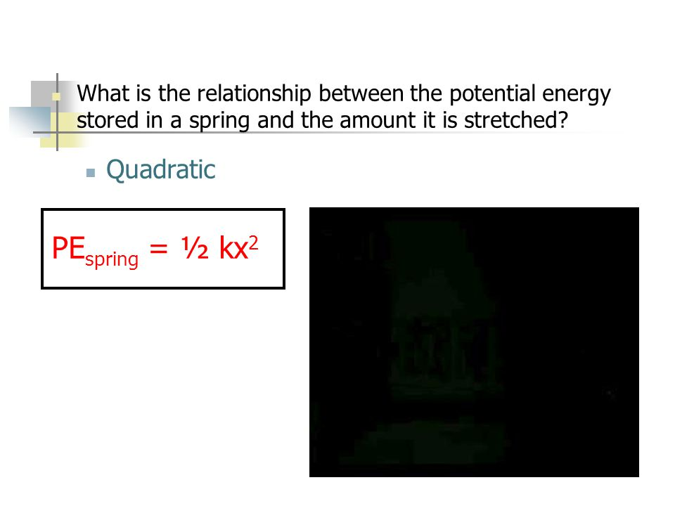 What is the relationship between the potential energy stored in a spring and the amount it is stretched.