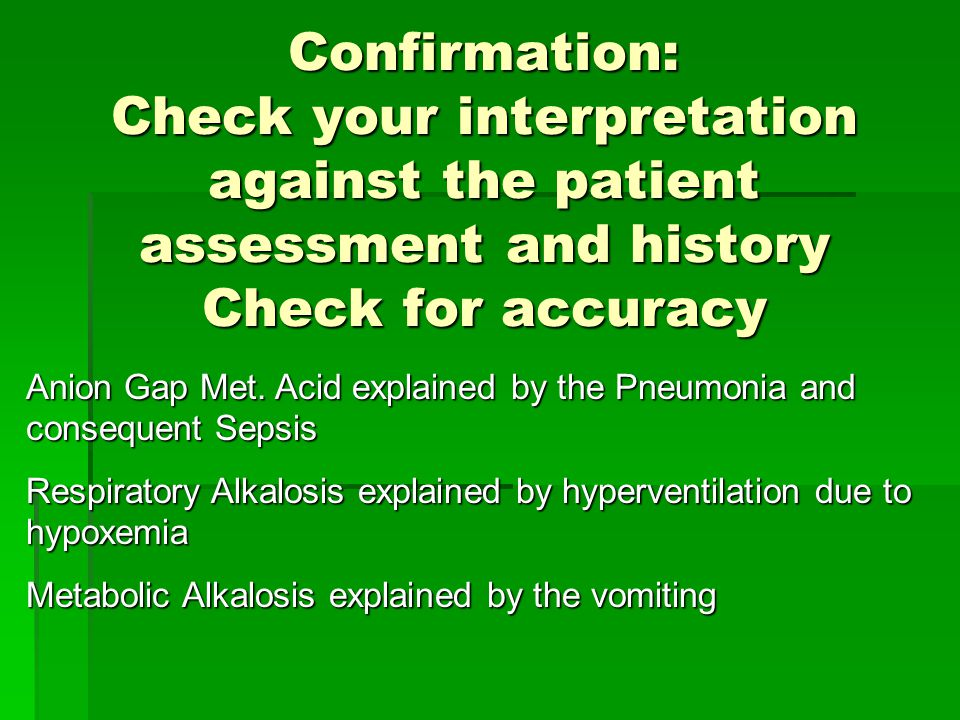 Confirmation: Check your interpretation against the patient assessment and history Check for accuracy Anion Gap Met.
