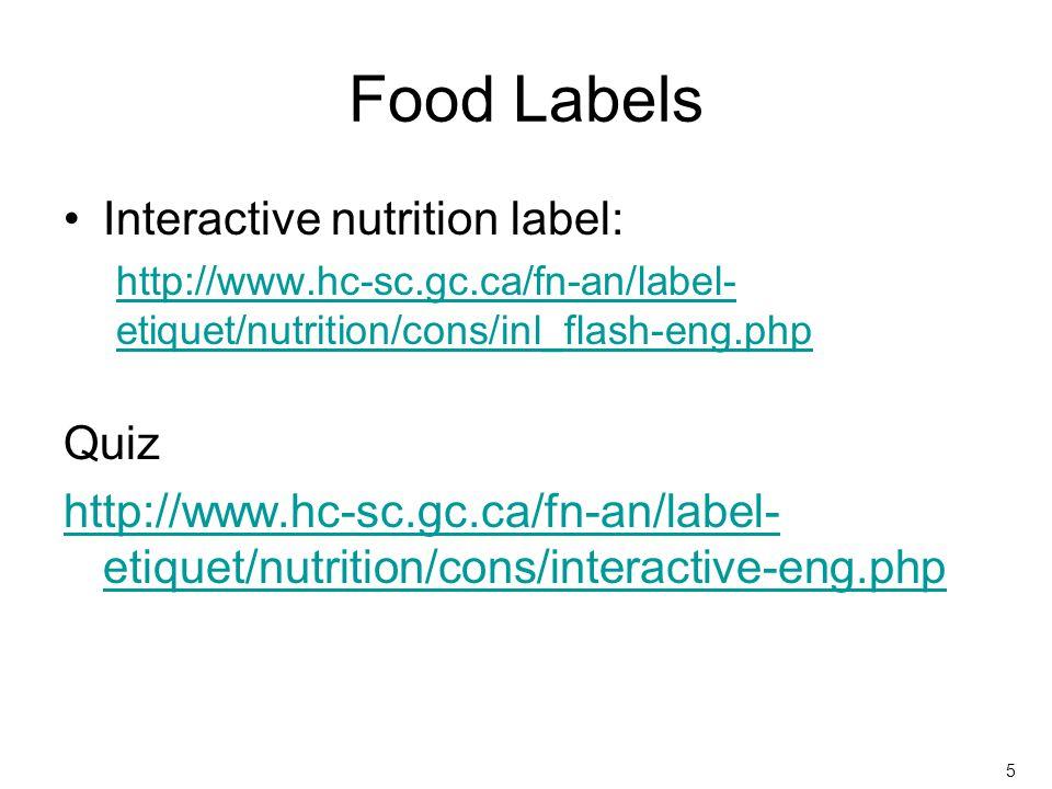 Food Labels Interactive nutrition label: http://www.hc-sc.gc.ca/fn-an/label- etiquet/nutrition/cons/inl_flash-eng.php Quiz http://www.hc-sc.gc.ca/fn-a