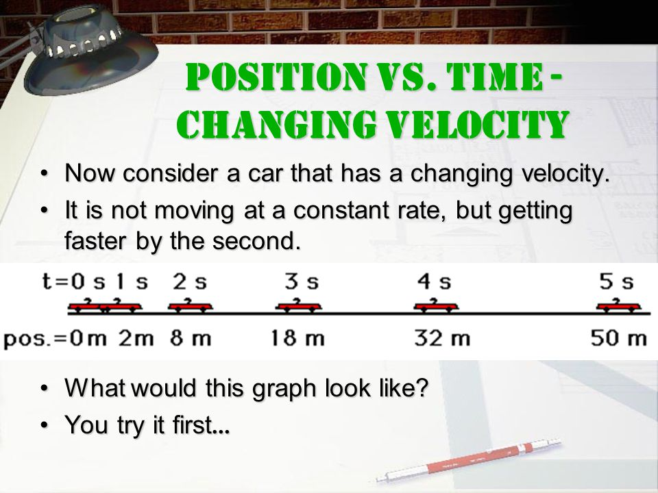 Now consider a car that has a changing velocity.Now consider a car that has a changing velocity. It is not moving at a constant rate, but getting fast