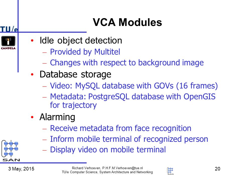 3 May, 2015 Richard Verhoeven, P.H.F.M.Verhoeven@tue.nl TU/e Computer Science, System Architecture and Networking 20 VCA Modules Idle object detection – Provided by Multitel – Changes with respect to background image Database storage – Video: MySQL database with GOVs (16 frames) – Metadata: PostgreSQL database with OpenGIS for trajectory Alarming – Receive metadata from face recognition – Inform mobile terminal of recognized person – Display video on mobile terminal