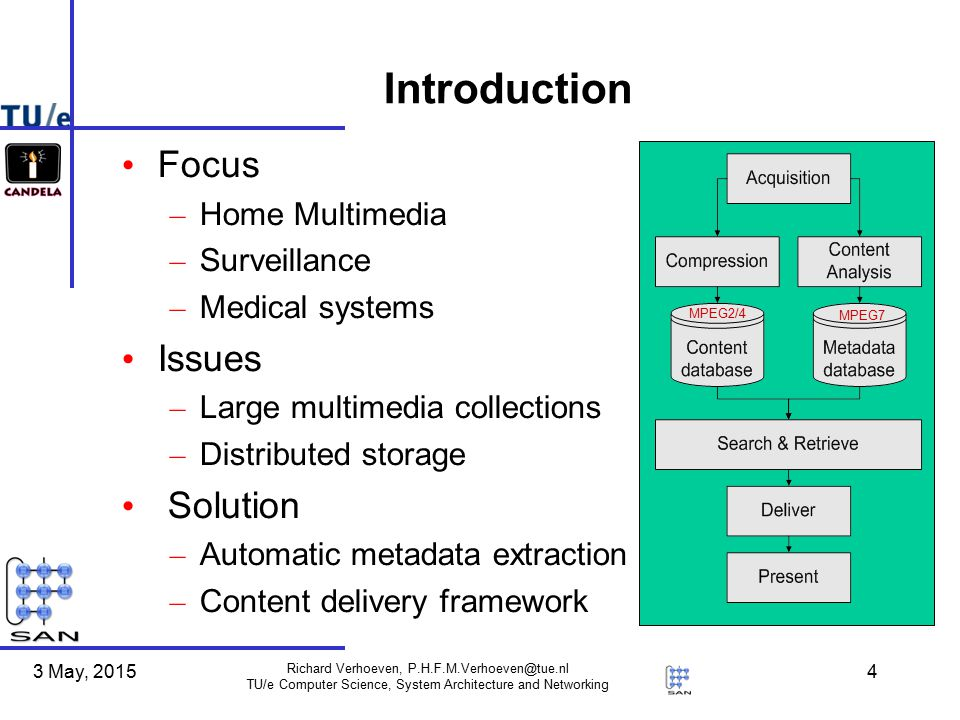 3 May, 2015 Richard Verhoeven, P.H.F.M.Verhoeven@tue.nl TU/e Computer Science, System Architecture and Networking 4 Introduction Focus – Home Multimedia – Surveillance – Medical systems Issues – Large multimedia collections – Distributed storage Solution – Automatic metadata extraction – Content delivery framework MPEG7 MPEG2/4
