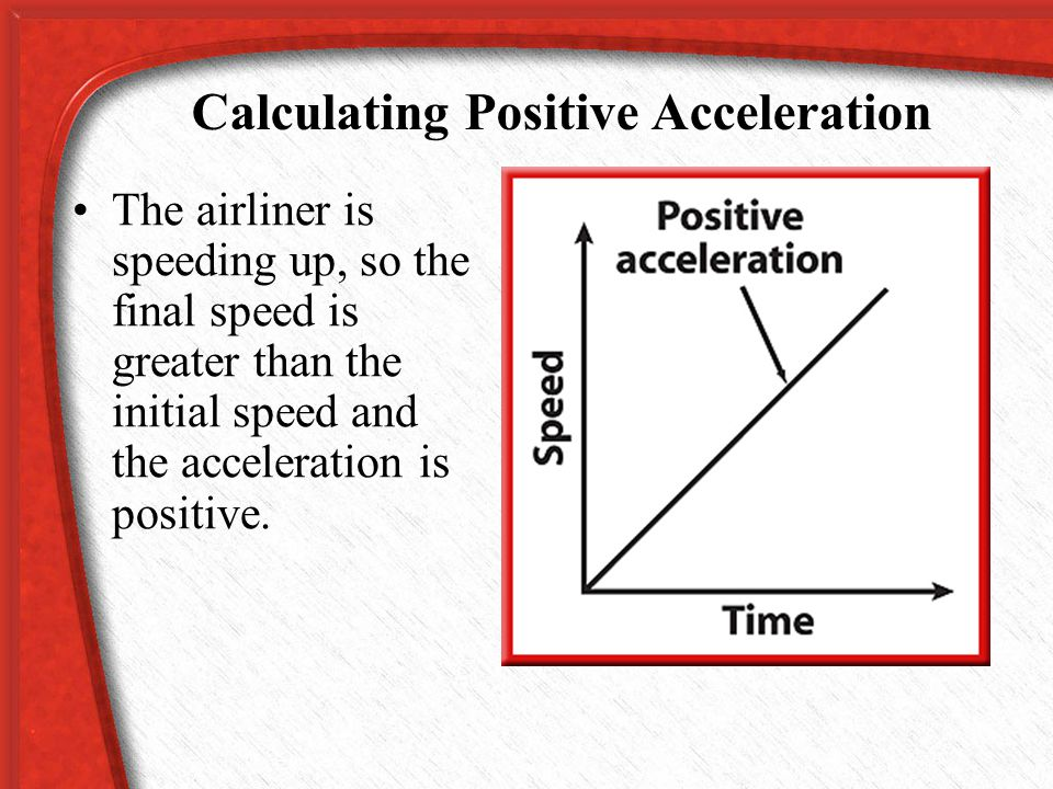 Calculating Positive Acceleration Its acceleration can be calculated as follows: