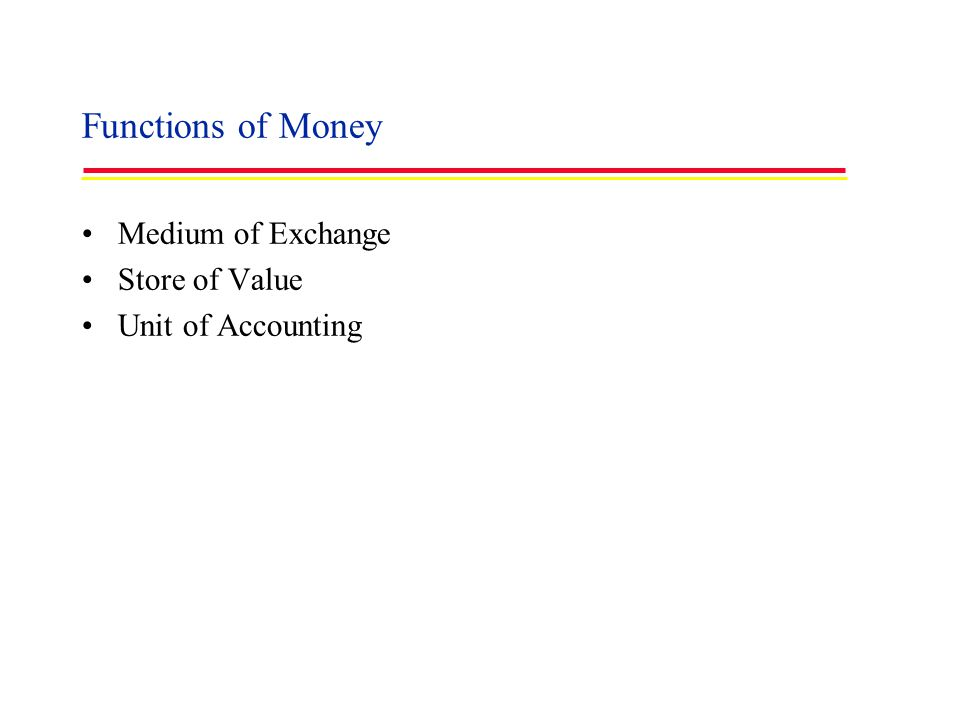 Functions of Money Medium of Exchange Store of Value Unit of Accounting