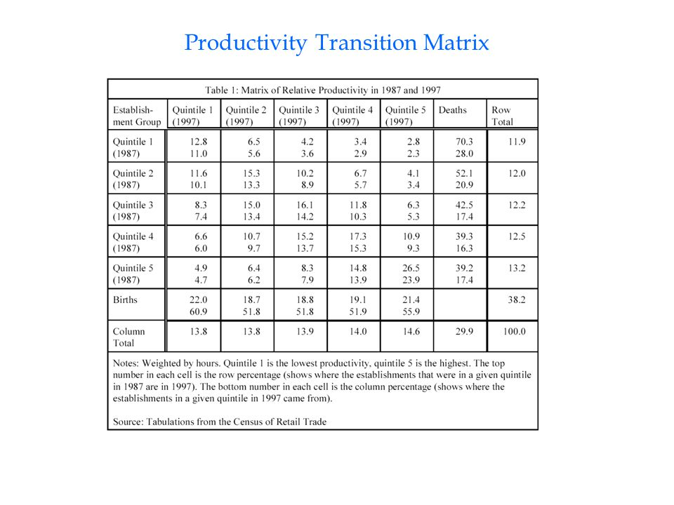 Productivity Transition Matrix