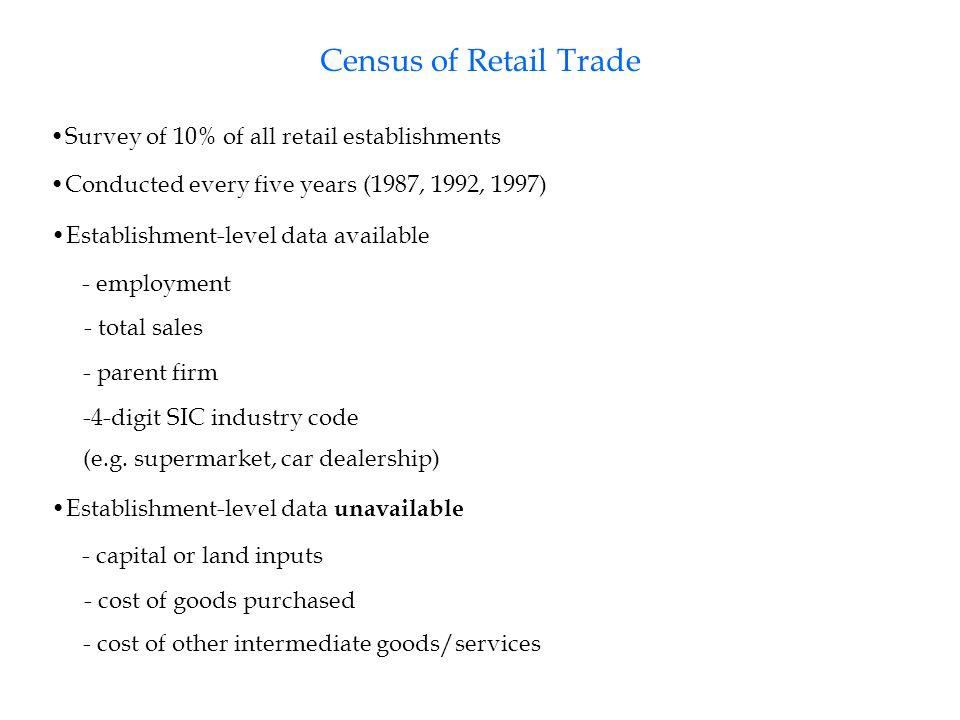 Role of Chain Stores Firm types: - Single-unit establishments - Local chain (multi-establishment, one state) - Regional chain (multi-establishment, 2 -5 states) - National chain (multi-establishment, >5 states)