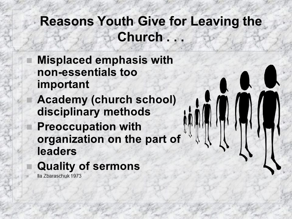 Valuegenesis Results (Aust/NZ) n Adult members are living phony lives n The church places too much emphasis on non-essentials n Attitudes of older members are critical and uncaring n Church leaders are preoccupied with organization and not concerned with people