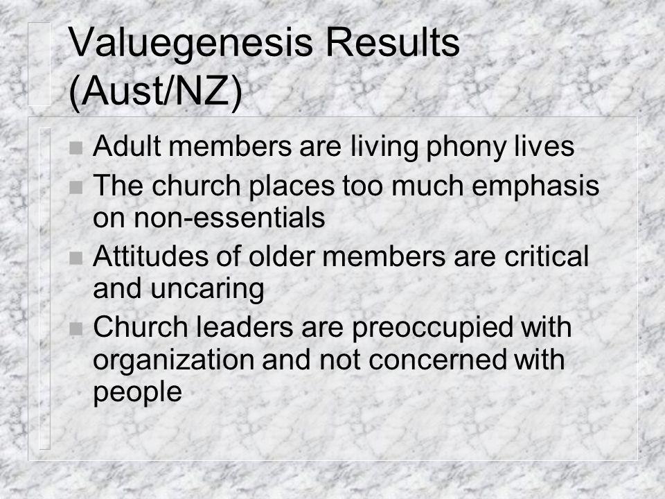Valuegenesis Results cont.