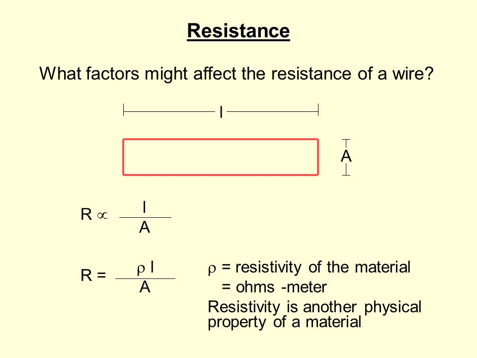 Resistance What factors might affect the resistance of a wire.