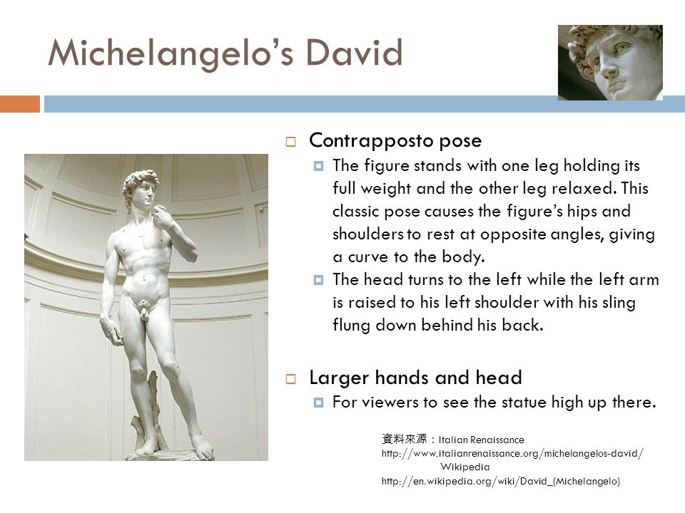 Michelangelo's David 資料來源: Italian Renaissance http://www.italianrenaissance.org/michelangelos-david/ Wikipedia http://en.wikipedia.org/wiki/David_(Michelangelo)  Contrapposto pose  The figure stands with one leg holding its full weight and the other leg relaxed.