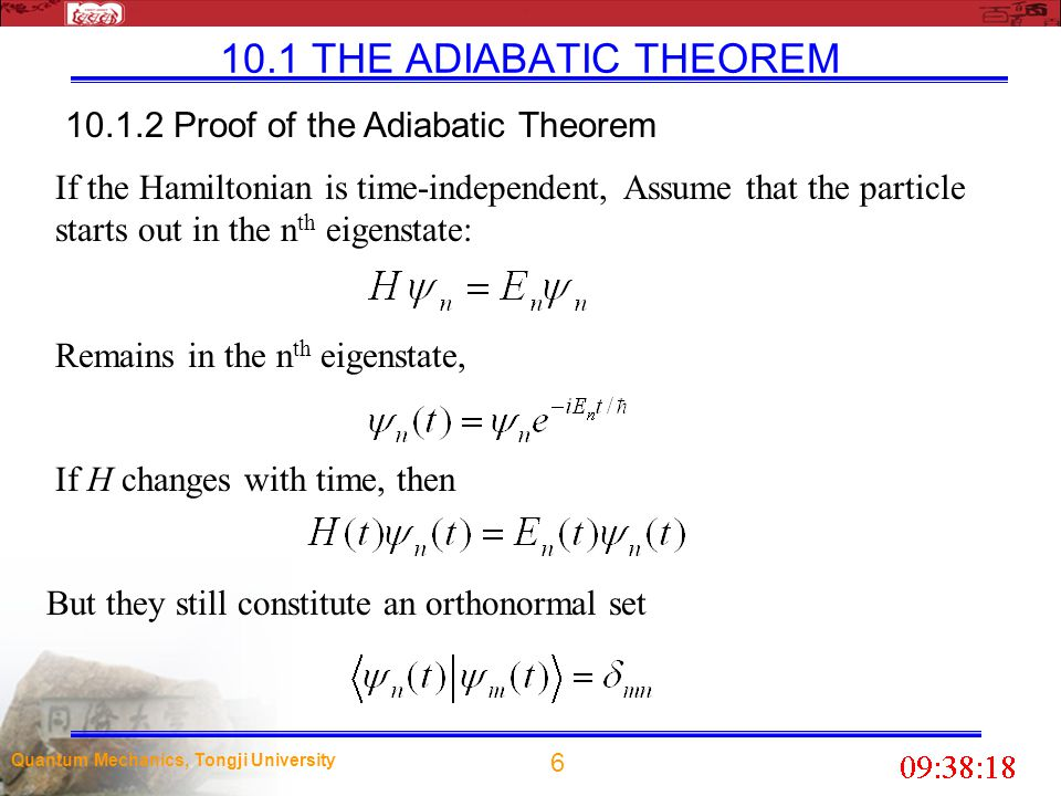17 Quantum Mechanics, Tongji University 10.2 Berry s Phase as long as the motion of the support is very slow, compared to the period of the pendulum (so that the pendulum executes many oscillations before the support has moved appreciably), it will continue to swing in the same plane (or one parallel to it), with the same amplitude (and, of course, the same frequency).