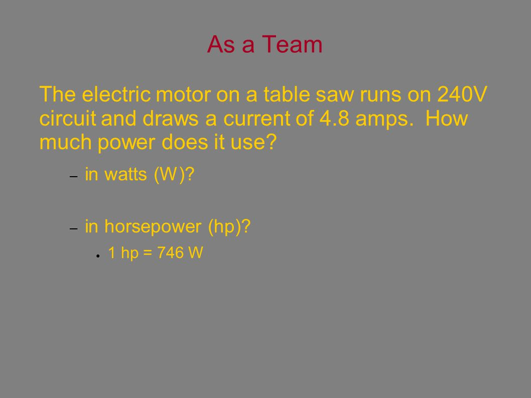 As a Team The electric motor on a table saw runs on 240V circuit and draws a current of 4.8 amps.