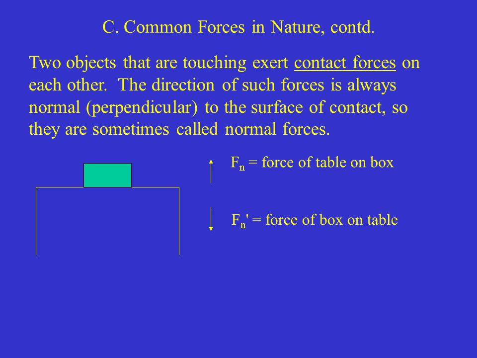 C. Common Forces in Nature, contd.