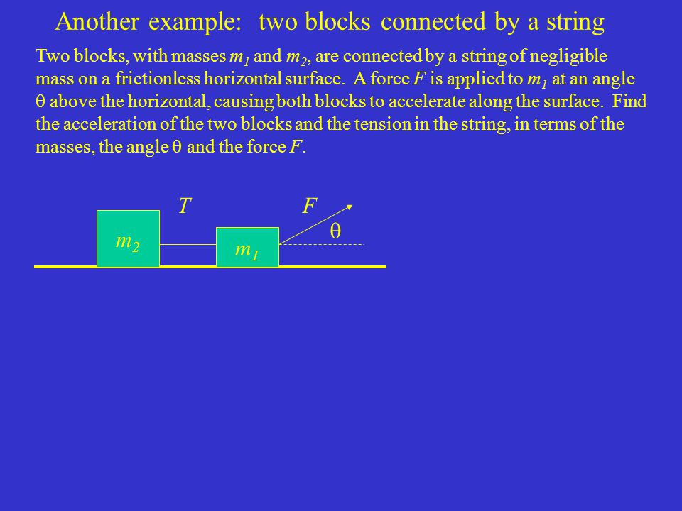 Another example: two blocks connected by a string Two blocks, with masses m 1 and m 2, are connected by a string of negligible mass on a frictionless horizontal surface.