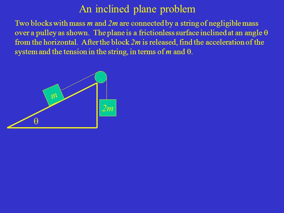 An inclined plane problem Two blocks with mass m and 2m are connected by a string of negligible mass over a pulley as shown.