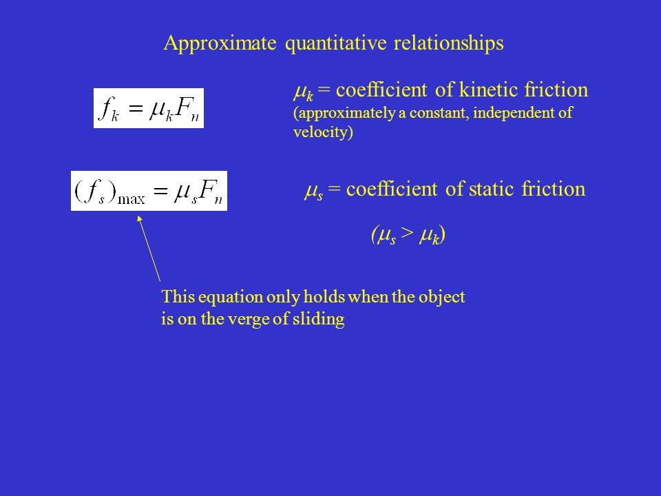 Approximate quantitative relationships  k = coefficient of kinetic friction (approximately a constant, independent of velocity)  s = coefficient of static friction This equation only holds when the object is on the verge of sliding (  s >  k )