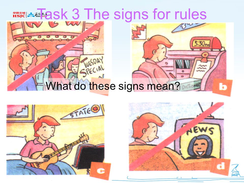 Task 3 The signs for rules What do these signs mean?
