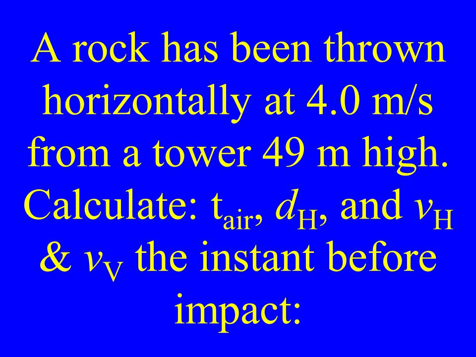 A rock has been thrown horizontally at 4.0 m/s from a tower 49 m high.