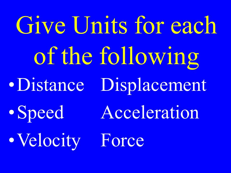 Give Units for each of the following DistanceDisplacement Speed Acceleration VelocityForce