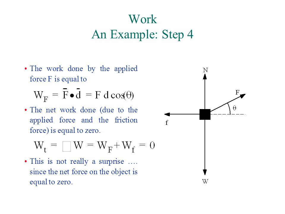 Work An Example: Step 4 The work done by the applied force F is equal to The net work done (due to the applied force and the friction force) is equal to zero.