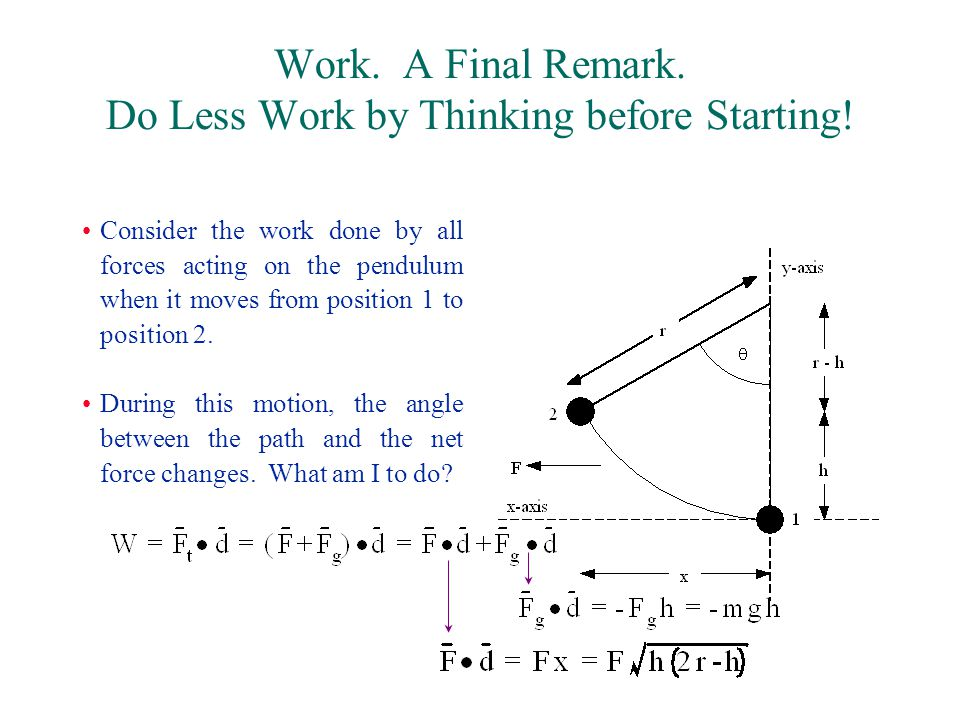 Work. A Final Remark. Do Less Work by Thinking before Starting.