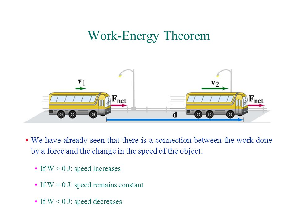 Work-Energy Theorem We have already seen that there is a connection between the work done by a force and the change in the speed of the object: If W > 0 J: speed increases If W = 0 J: speed remains constant If W < 0 J: speed decreases