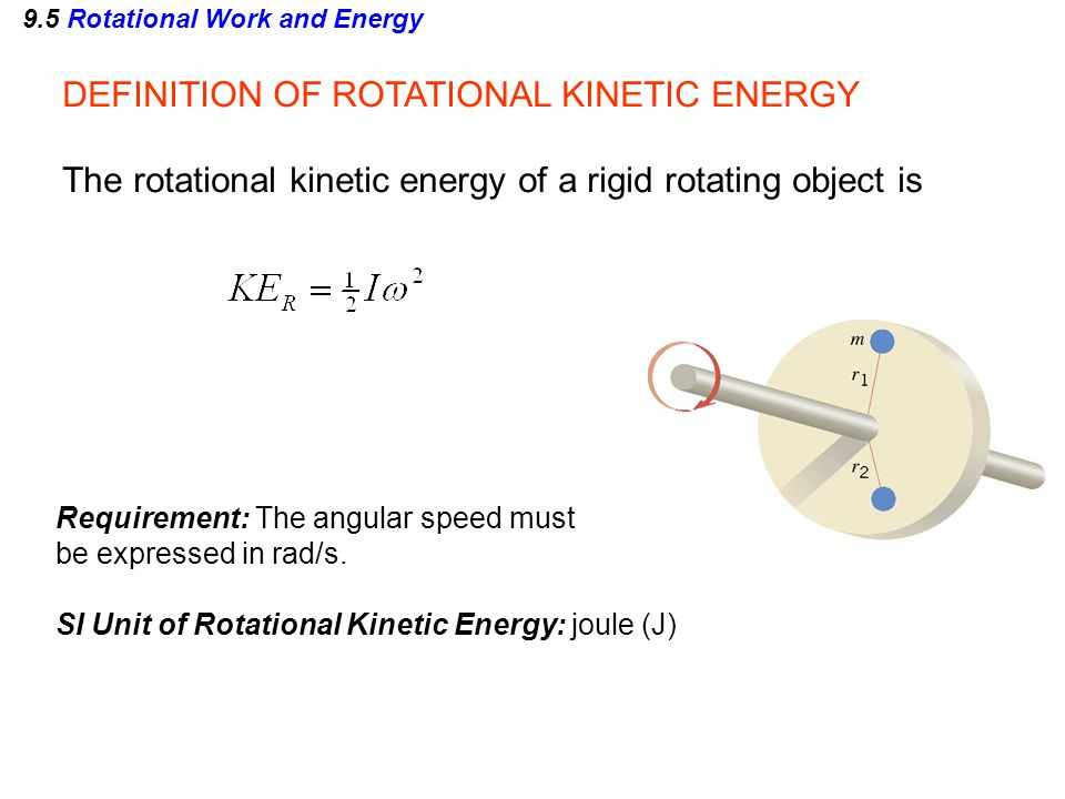9.5 Rotational Work and Energy Example 13 Rolling Cylinders A thin-walled hollow cylinder (mass = m h, radius = r h ) and a solid cylinder (mass = m s, radius = r s ) start from rest at the top of an incline.