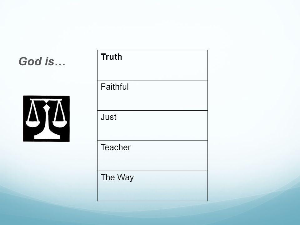 God is… Truth Faithful Just Teacher The Way