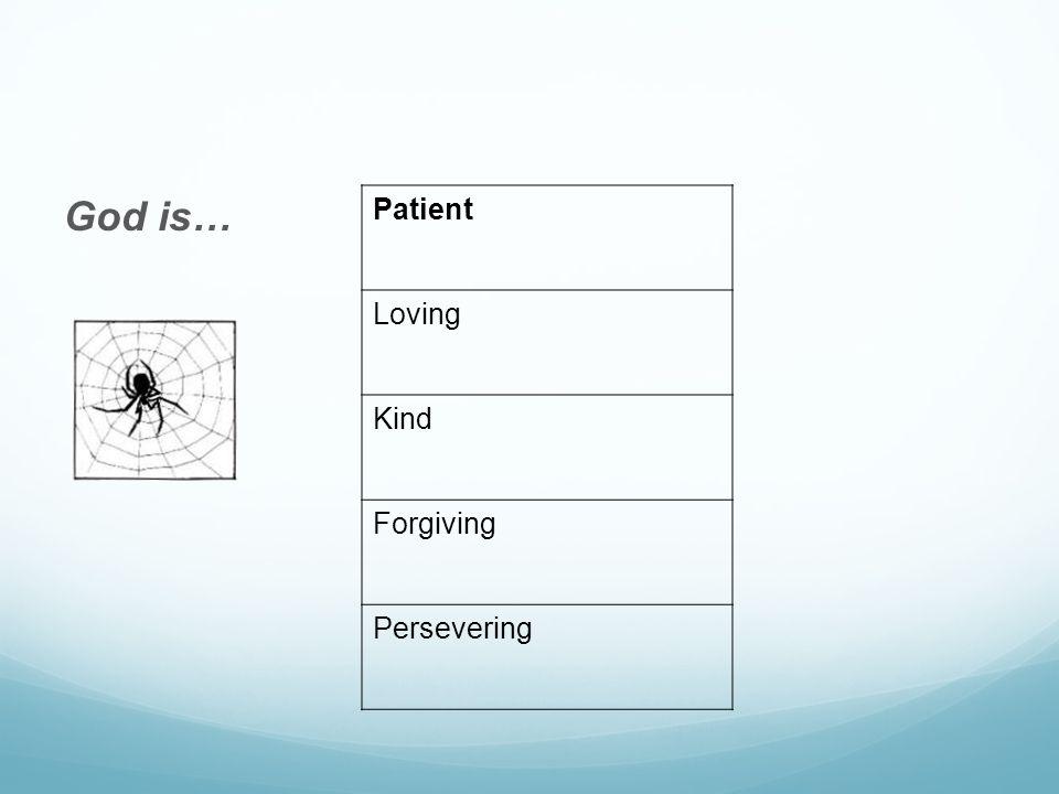 God is… Patient Loving Kind Forgiving Persevering