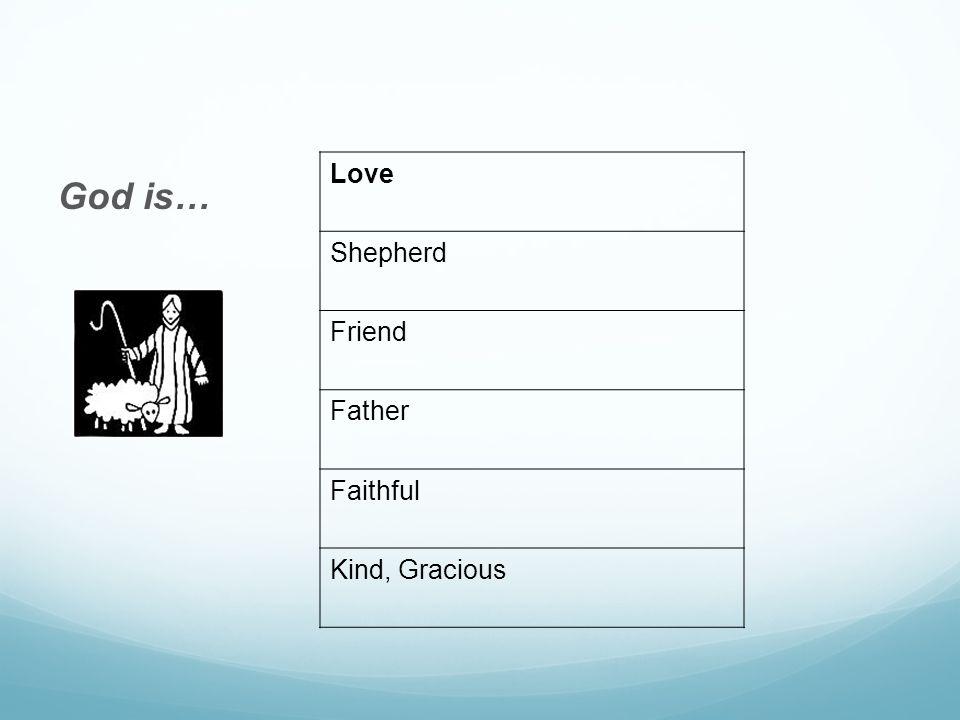 God is… Love Shepherd Friend Father Faithful Kind, Gracious