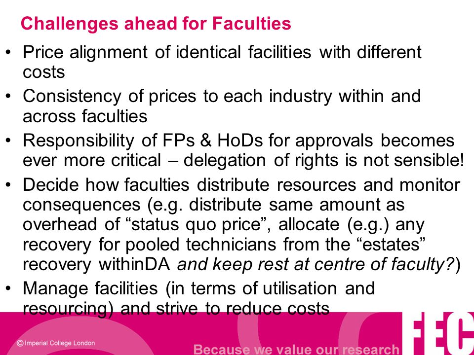 Challenges ahead for Faculties Price alignment of identical facilities with different costs Consistency of prices to each industry within and across f
