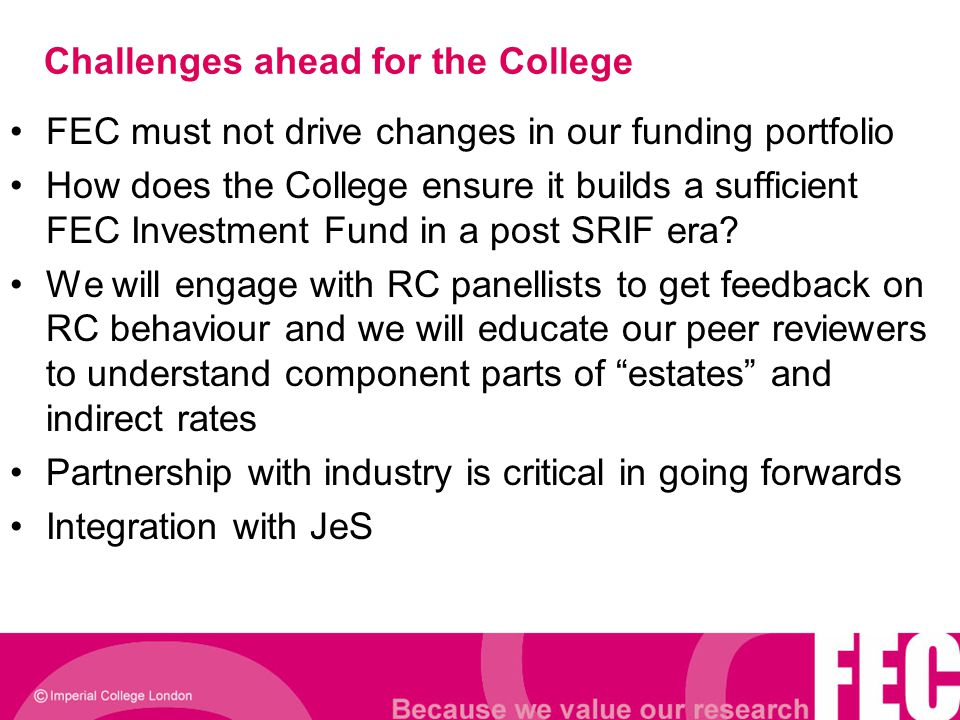 Challenges ahead for the College FEC must not drive changes in our funding portfolio How does the College ensure it builds a sufficient FEC Investment