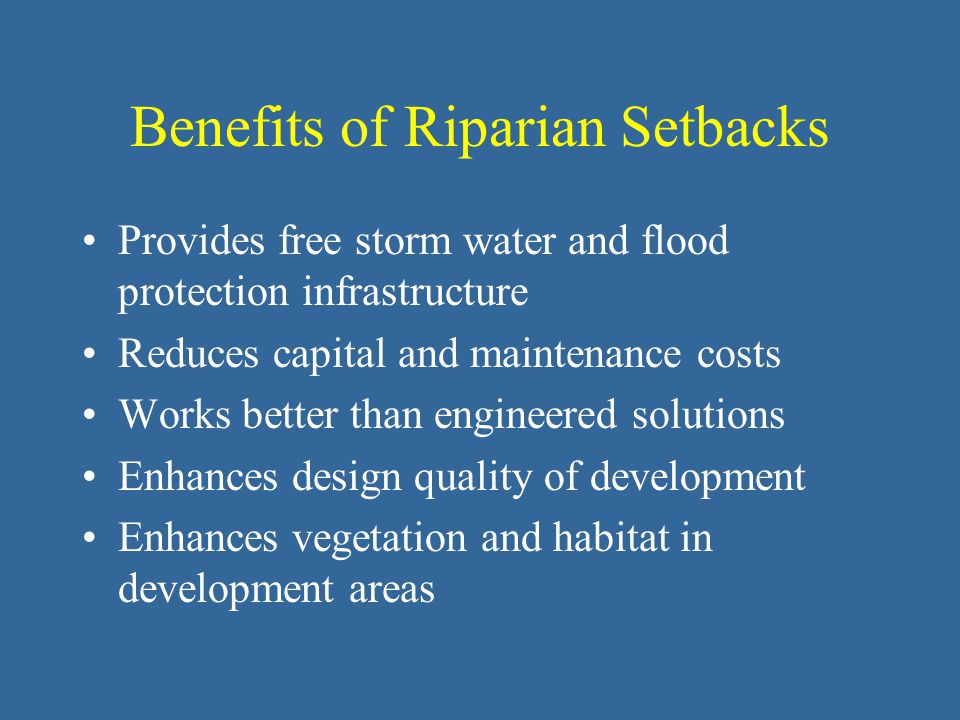 Benefits of Riparian Setbacks Provides free storm water and flood protection infrastructure Reduces capital and maintenance costs Works better than engineered solutions Enhances design quality of development Enhances vegetation and habitat in development areas