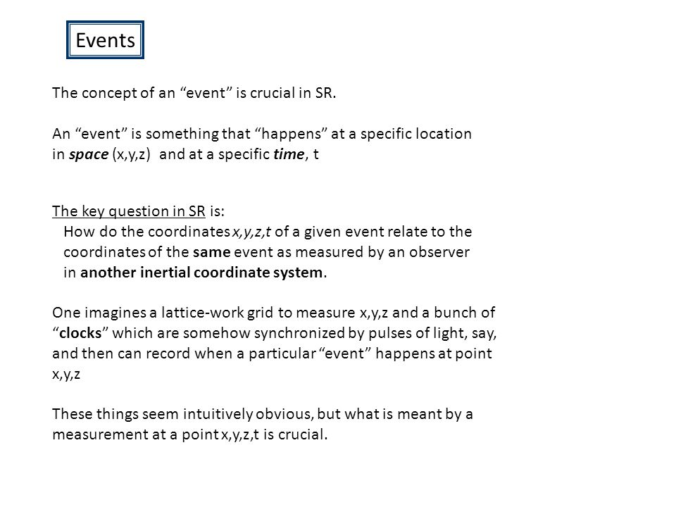 Events The concept of an event is crucial in SR.