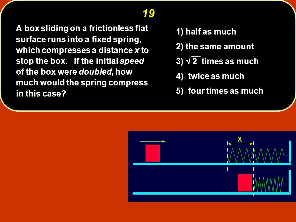 x19 A box sliding on a frictionless flat surface runs into a fixed spring, which compresses a distance x to stop the box.
