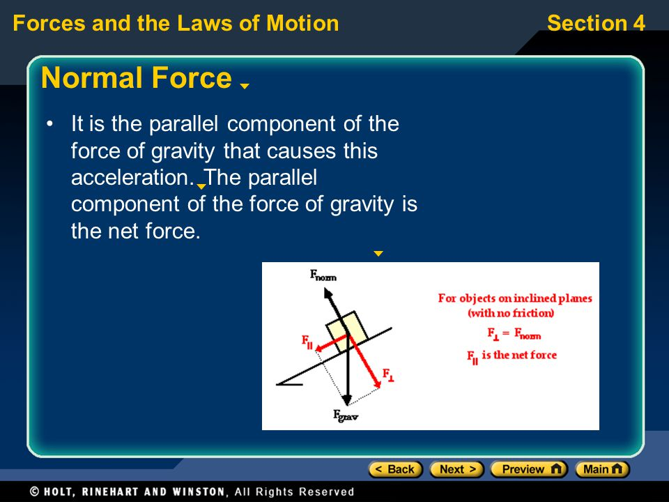 Forces and the Laws of MotionSection 4 Normal Force It is the parallel component of the force of gravity that causes this acceleration.