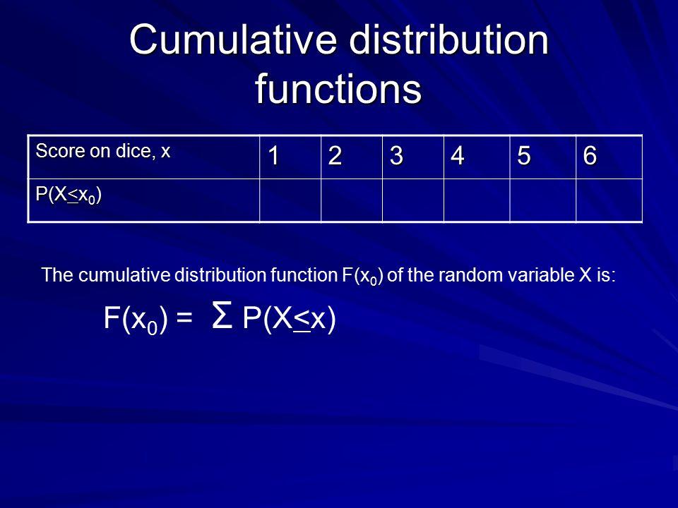 Cumulative distribution functions Score on dice, x 123456 P(X<x 0 ) F(x 0 ) = Σ P(X<x) The cumulative distribution function F(x 0 ) of the random vari