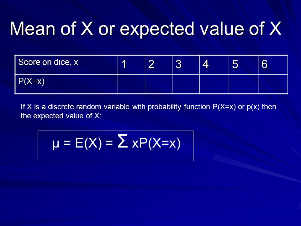 Mean of X or expected value of X Score on dice, x 123456 P(X=x) μ = E(X) = Σ xP(X=x) If X is a discrete random variable with probability function P(X=x) or p(x) then the expected value of X: