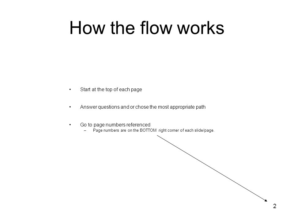 2 How the flow works Start at the top of each page Answer questions and or chose the most appropriate path Go to page numbers referenced –Page numbers are on the BOTTOM right corner of each slide/page.