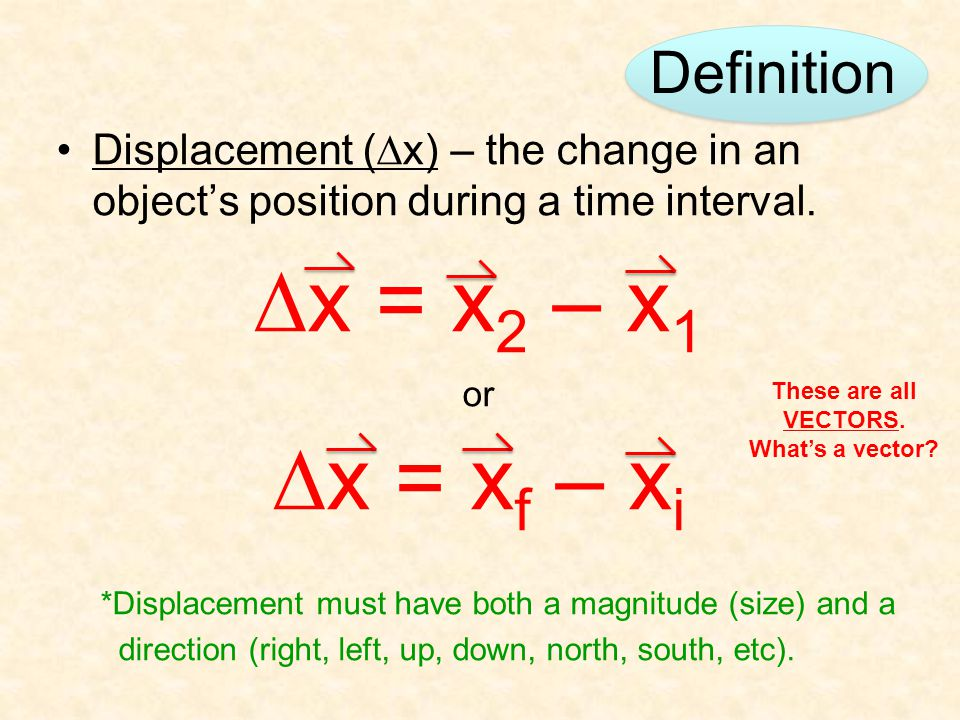 Definition Displacement (  x) – the change in an object's position during a time interval.  x = x 2 – x 1 or  x = x f – x i *Displacement must have