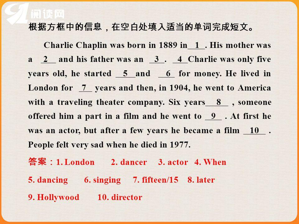 根据方框中的信息,在空白处填入适当的单词完成短文。 Charlie Chaplin was born in 1889 in 1.