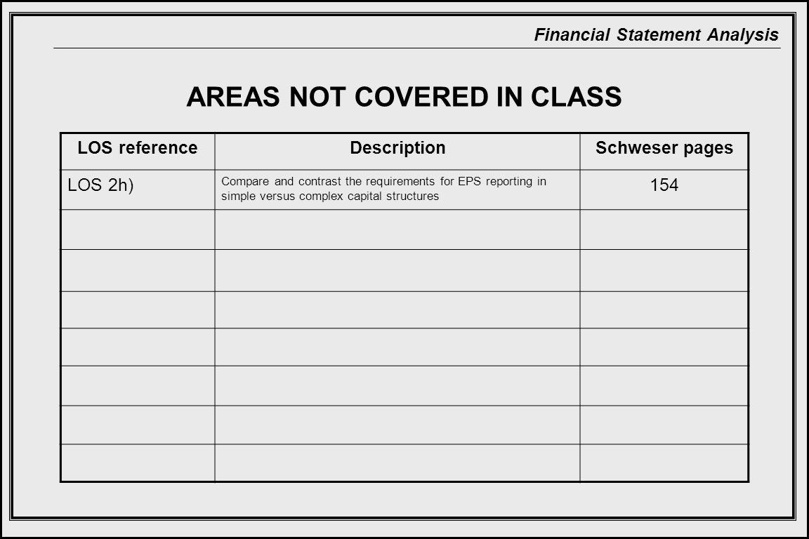 Financial Statement Analysis AREAS NOT COVERED IN CLASS LOS referenceDescriptionSchweser pages LOS 2h) Compare and contrast the requirements for EPS reporting in simple versus complex capital structures 154