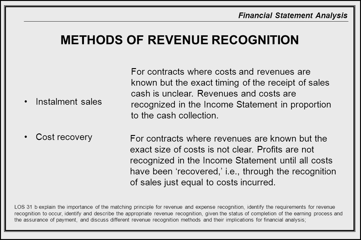 Financial Statement Analysis Instalment sales Cost recovery METHODS OF REVENUE RECOGNITION For contracts where costs and revenues are known but the exact timing of the receipt of sales cash is unclear.