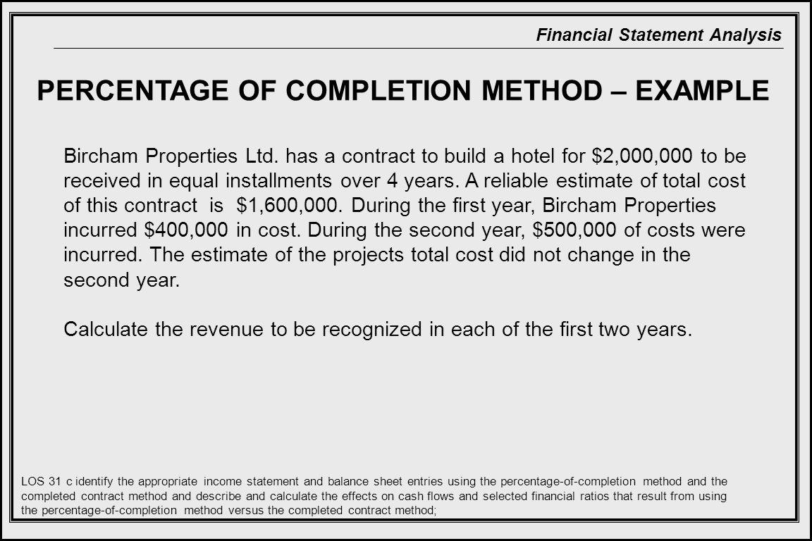 Financial Statement Analysis PERCENTAGE OF COMPLETION METHOD – EXAMPLE Bircham Properties Ltd.