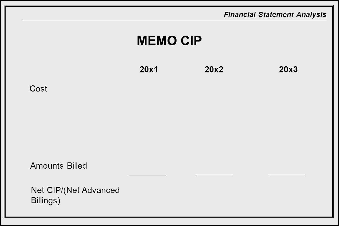 Financial Statement Analysis MEMO CIP 20x220x320x1 Cost Amounts Billed Net CIP/(Net Advanced Billings)