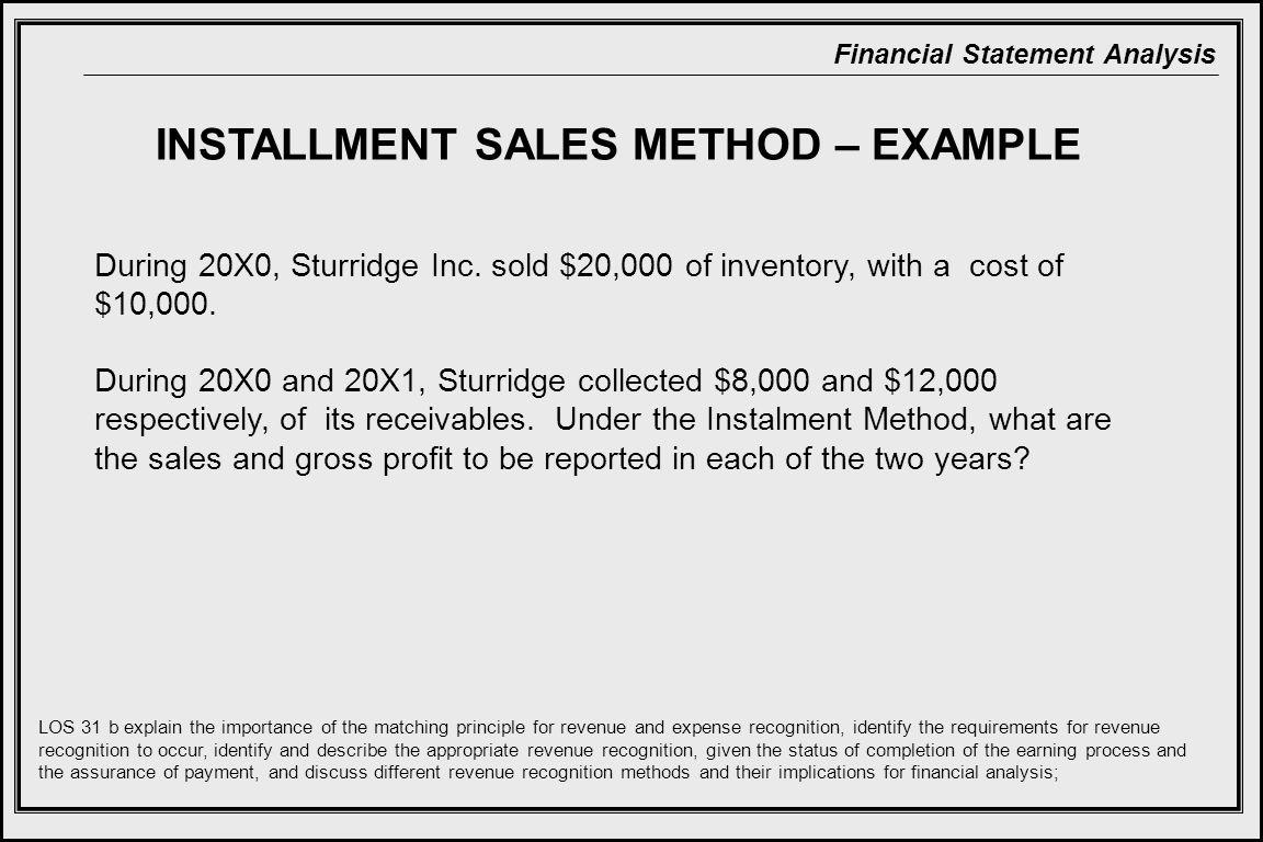 Financial Statement Analysis INSTALLMENT SALES METHOD – EXAMPLE During 20X0, Sturridge Inc.